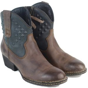 BORN Leather Ankle Boots 8.5 Brown Black